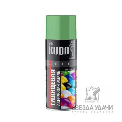 Темно-зеленая высокоглянцевая RAL 6016 акриловая эмаль универсальная 520 мл Кudo