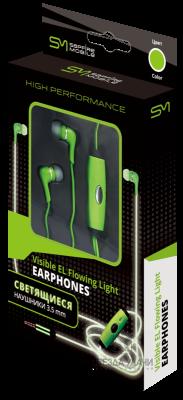 Наушники светящиеся 3,5 мм зеленые SAPFIRE Mobile