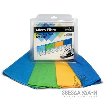 Набор многофункциональный Салфетка и Замша МикроФибра Cleaning cloth & Set Elite 4 SAPFIRE 60шт/уп,