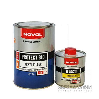 Грунт HS 4+1 серый с отвердителем (1л+0,25л) PROTECT Novol