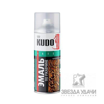 Эмаль молотковая по ржавчине серебристо-черная 520 мл. Кudo