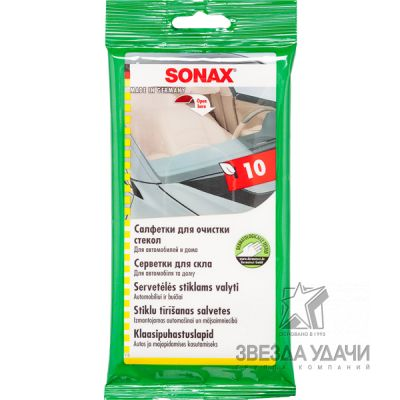 Салфетка для очистки стекол (10шт) Sonax